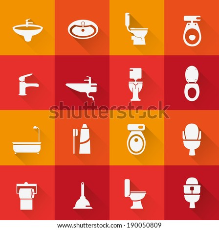 Wc ,Toilet icon 2 ( long Shadow ) - stock vector
