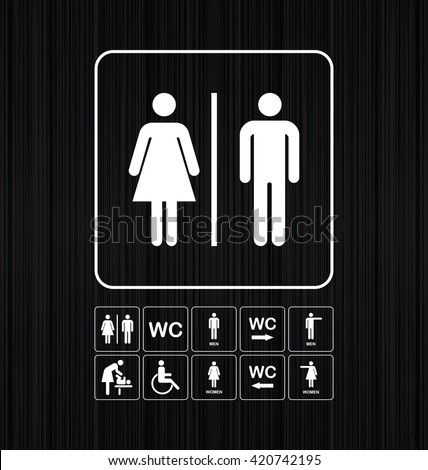 WC / Toilet icons set. Men and women WC signs for restroom. WC direction arrow symbol  vector illustration. - stock vector
