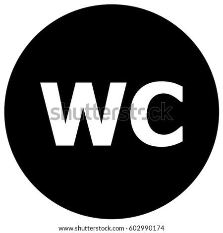 WC Toilet Sign Black Vector