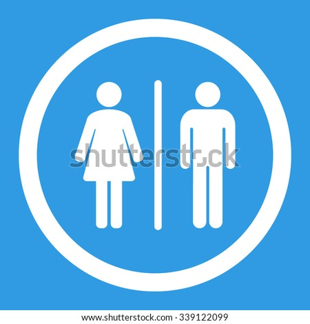 WC vector icon. Style is flat rounded symbol, white color, rounded angles, blue background.