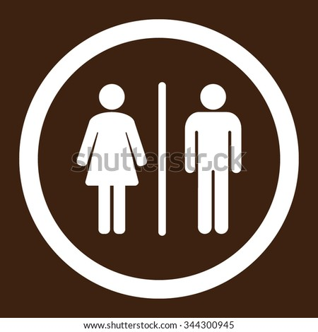 WC vector icon. Style is flat rounded symbol, white color, rounded angles, brown background.