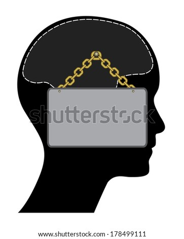 We are closed, concept vector design with human head. - stock vector