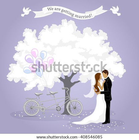 We are getting married invitation card. Wedding Invitation template. Announcement Background with Bride and Groom, White Tree, Tandem Bike, Balloons and White Pigeons. Save the Date Card. - stock vector