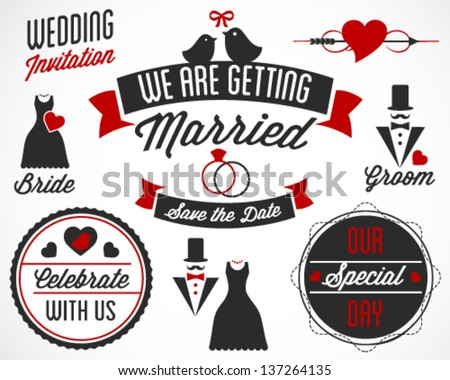 We Are Getting Married Vector Badges and Labels in Retro Style - stock vector