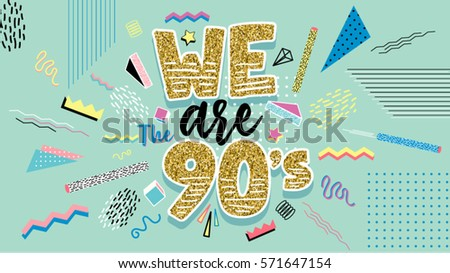 We 90 S Memphis Style Poster Invitation Stock Vector HD Royalty