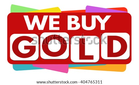 We buy gold banner or label for business promotion on white background,vector illustration