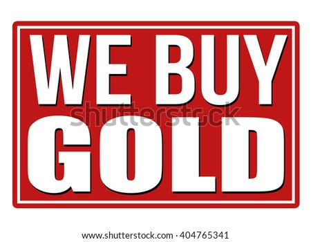 We buy gold red sign isolated on a white background, vector illustration