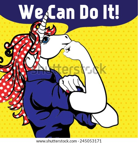 We Can Do It. Iconic woman's fist/symbol of horse power and industry. cartoon Horse with can do attitude. - stock vector