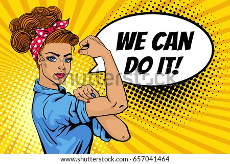 we can do poster pop art stock vector royalty free 657041464