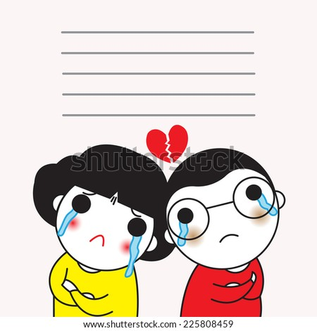 We care too much. That's how we got hurt paper note illustration set - stock vector