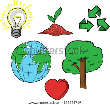 we love recycled - stock vector