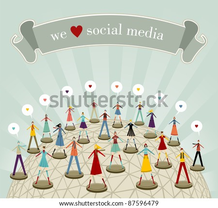 We love social media network connection concept in Christmas winter time - stock vector