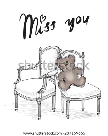 We miss you card - stock vector