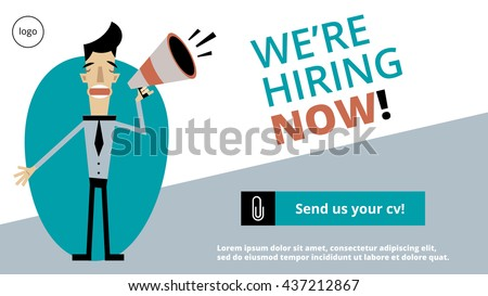 were hiring now sign landing page stock vector royalty free