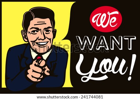 We want you! Vintage businessman picking candidate for job vacancy, we're hiring, recruitment illustration - stock vector