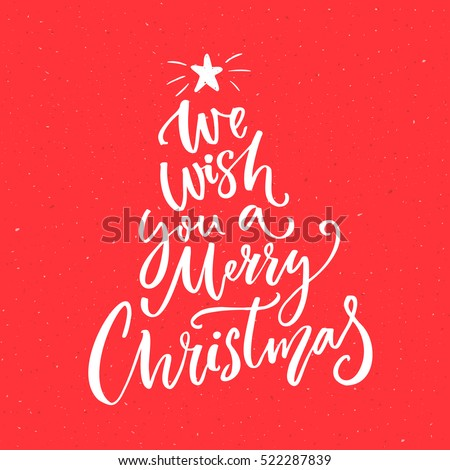 Merry christmas text stok grseller telifsiz grseller ve vektrler we wish you a merry christmas text calligraphy text for greeting cards on red background m4hsunfo