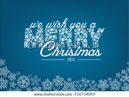 We wish you a Merry Christmas - vector greeting card - stock vector