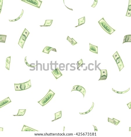 Wealth and success concept - rain from dollars. Vector 3D american money flying in the air pattern. Hundred dollar banknote isolated on white. Collection of banknotes - stock vector