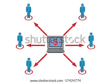 Wealth Distribution to Staff Illustration in Vector