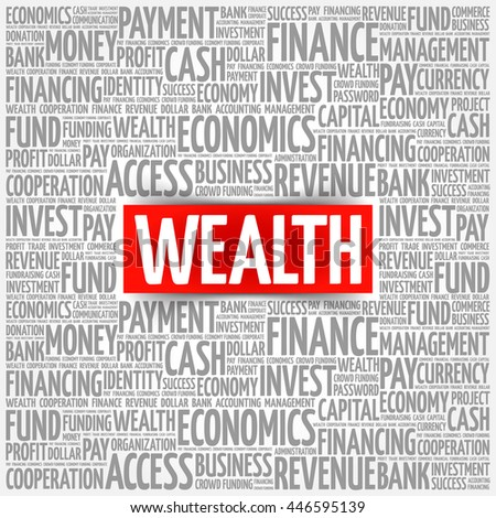 WEALTH word cloud collage, business concept background - stock vector