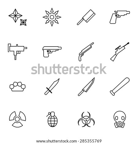 weapon and arms icons set vector illustration For Mobile, Web And Applications