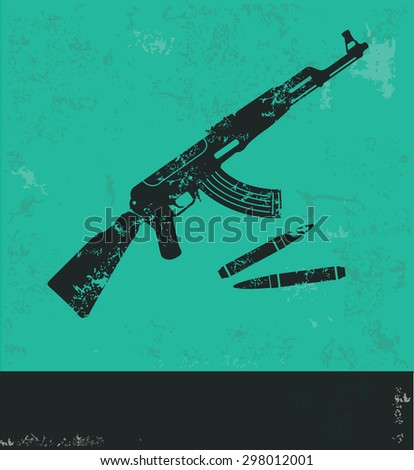 Weapon design on green background,grunge vector - stock vector