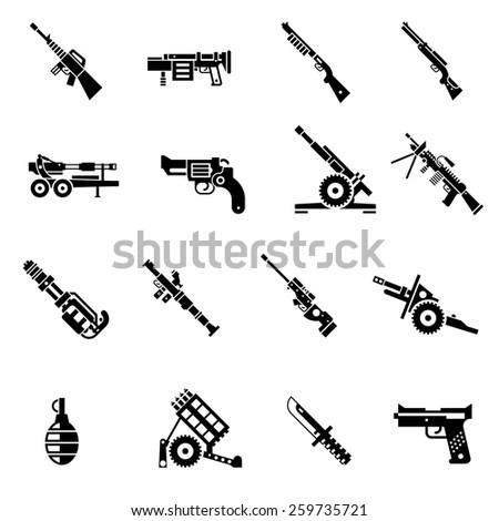 Weapon icons black set with bazooka ak47 gun rifle isolated vector illustration - stock vector