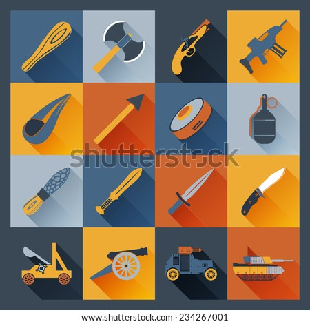 Weapon icons flat set  with axe dagger tank  cannon isolated vector illustration - stock vector