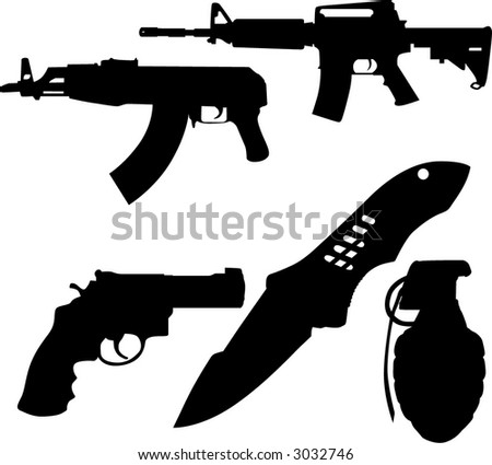 Weapon Set (High Detail) - stock vector