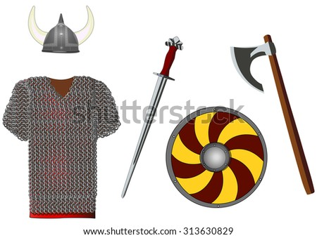 Weapons and armors set of viking, isolated on white, vector illustration - stock vector