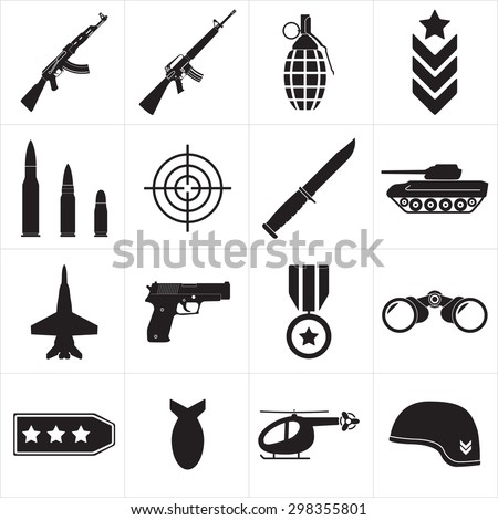 Weapons and military icon set. Sub machine guns, pistol and bullets black icons isolated on white background. Symbolics and badge for army. Vector illustration. - stock vector