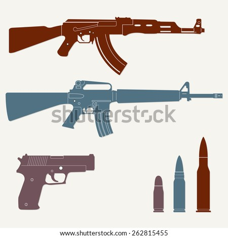 Weapons and military set. Sub machine gun, pistol and bullet icons isolated on white background. Vector illustration. - stock vector