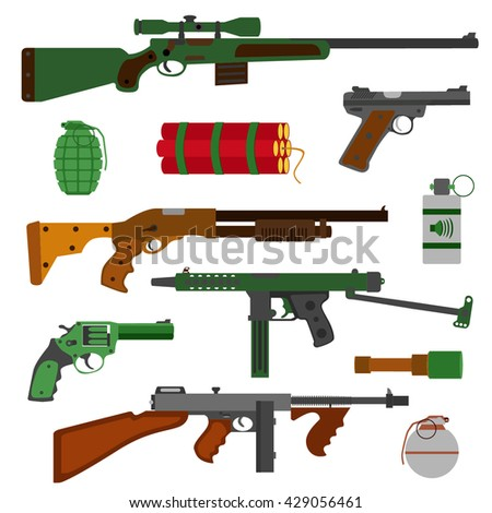 Weapons vector guns collection. Pistols, revolver, submachine gun, assault rifle, sniper rifle, grenades and dynamite icons. Vector gun illustration isolated on white background. - stock vector