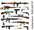 Weapons vector guns collection. Pistols, submachine guns, assault rifles, sniper rifles, knife, grenade vector icons. Vector gun illustration isolated on white background - stock vector