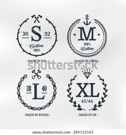 Wear size emblems on cotton textured white background. Retro styled design templates. Vector illustrations. - stock vector