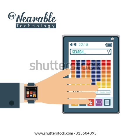 Wearabe technology concept with multimedia and aps icons design, vector illustration eps 10
