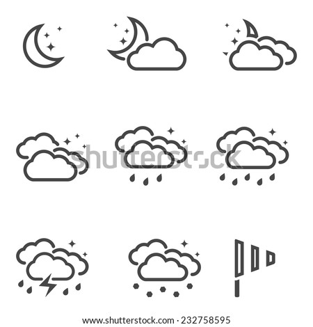 Weather at night icons set black outline simple symbols isolated on white background. Vector illustration - stock vector