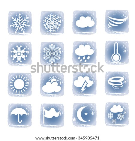 Weather blue icons set - stock vector