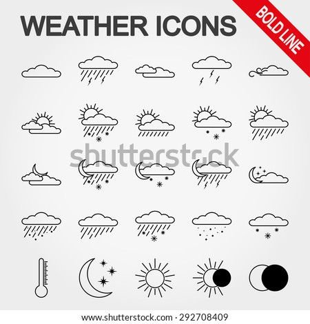 Weather bold line icon set for web and mobile application. Vector illustration on a white background. - stock vector