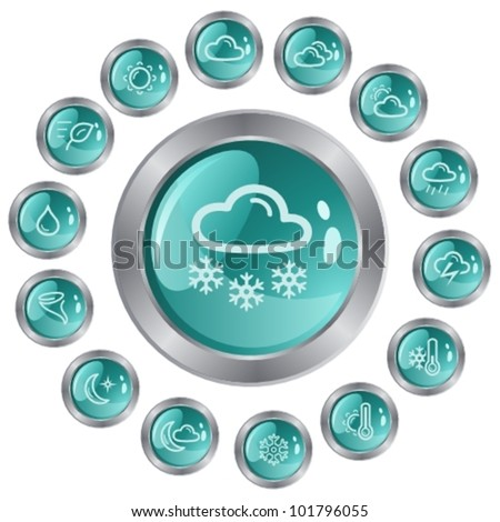 Weather button set - stock vector