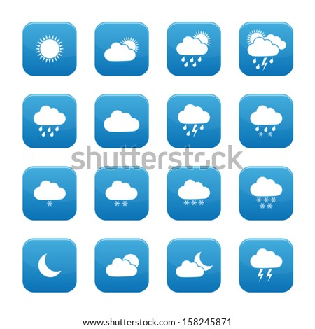 Weather buttons - stock vector
