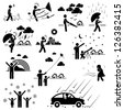 Weather Climate Atmosphere Environment Meteorology Season People Man Stick Figure Pictogram Icon - stock photo