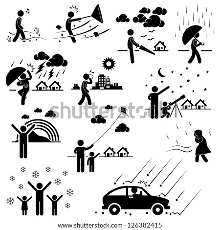 Weather Climate Atmosphere Environment Meteorology Season People Man Stick Figure Pictogram Icon - stock vector