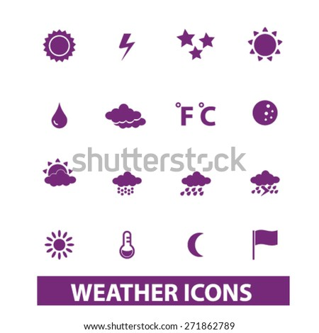 weather, climate icons, signs, illustrations set, vector - stock vector