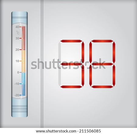 Weather concept, abstract illustration with thermometer - stock vector