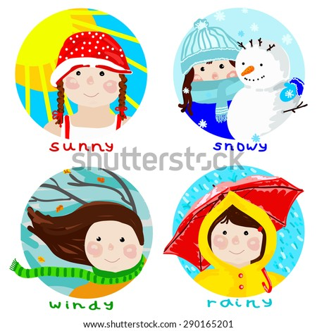 Weather conditions set depicted with funny girl - stock vector