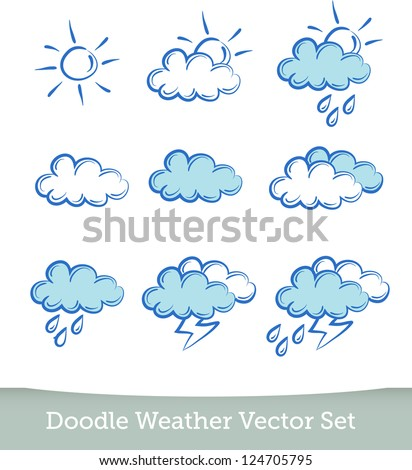 weather doodle set - stock vector