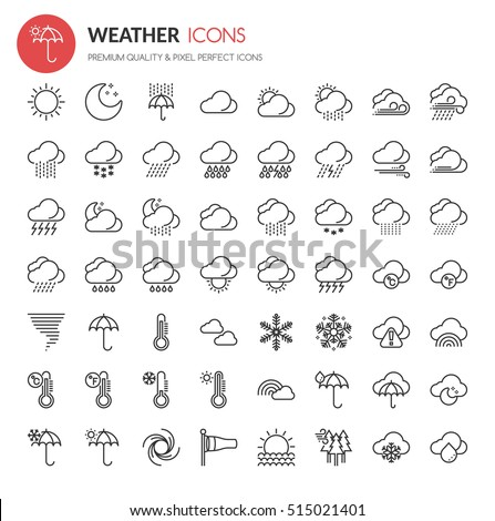 Weather Element Icons , Thin Line and Pixel Perfect Icons