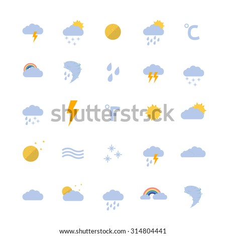 weather flat icon set. vector illustration - stock vector