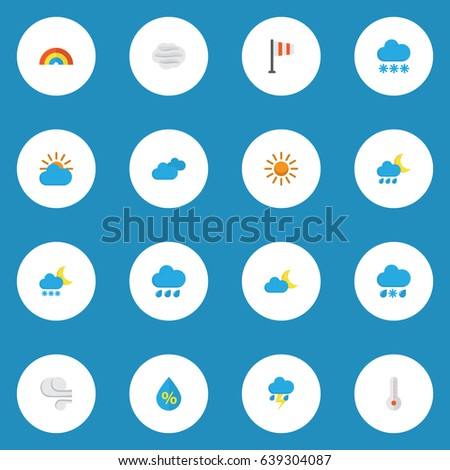 Weather Flat Icons Set Collection Sunny Stock Vector 639304087